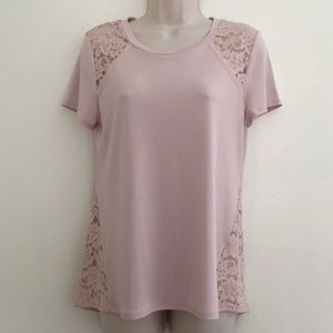 Express Small Blush Lace Panel Top
